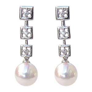 あこや本真珠 ピアス パール ダイヤモンド 5mm K18WG ホワイトゴールド スクエア【RCP】 あこや本真珠とスクエアモチーフがかわいいピアス