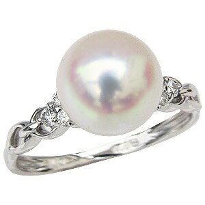 パール 真珠 リング プラチナ 真珠パール 指輪 ダイヤモンド【RCP】 あこや本真珠ダイヤモンドリングパールプラチナPT900指輪シンプル(シンプル)