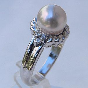 あこや本真珠 リング ダイヤモンド 0.1ct パール ピンクホワイト系 8mm プラチナ PT900 指輪(アコヤ本真珠)【RCP】 華やかな雰囲気
