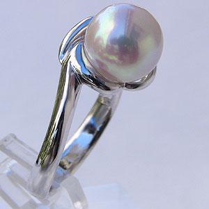 あこや本真珠 リング シンプル パール ピンクホワイト系 9mm プラチナ 指輪(アコヤ本真珠)【RCP】 あこや本真珠 指輪 9mm珠 パールリング 【送料無料】