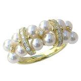 パール 指輪 あこや真珠パールリング K18ゴールド ダイヤモンド ジュエリー【楽ギフ包装】【RCP】