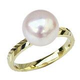 9ミリ あこや本真珠 パール指輪 18金ゴールド カットリング 真珠 シンプル パール リング【楽ギフ包装】【RCP】