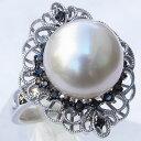真珠 パール リング 南洋白蝶真珠 12mm ホワイトゴールド リング ブラックダイヤモンド 真珠 パール 指輪【RCP】