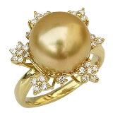 ゴールデンパール リング 真珠 指輪 南洋真珠 11mm K18 ゴールド フラワー 花【楽ギフ包装】【RCP】