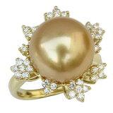 ゴージャスな輝き 大珠12mmゴールデンパールリングゴールデンパールリング 真珠指輪 南洋真珠 12mm ダイヤモンド K18 ゴールド【楽ギフ包装】【RCP】