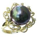 リング パール 指輪 黒真珠 ブラックパールリング K10ゴールド ダイヤモンド【RCP】