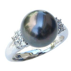 真珠 パール リング タヒチ黒蝶真珠 10mm 指輪 リング K18WG ホワイトゴールド ダイヤモンド【RCP】 ラグジュアリー ブラックパールリング