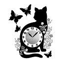 Wall Clock Sticker ウォールクロックステッカー 「キャットバタフライ」 【時計:ねこ:黒猫:ネコ:蝶:シール:ステッカー:インテリア:モノクロ:おしゃれ:シンプル】
