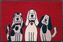 【wash+dry】(屋外・屋内兼用)玄関マット(THREE DOGS)ドアマット/フロアーマット/エントランス/犬洗える/インテリア/新築祝い/かわいい/薄い/ラバー