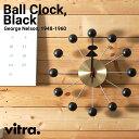 【Vitra】Ball Clock 【Black x Brass】高品質クオーツ時計式ムーブメントボールクロック/ブラック/ブラス/ヴィトラ/掛け時計/クロック/木製/ジョージ・ネルソン/George Nelson【RCP】