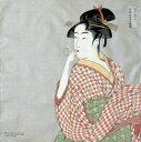 日本のお土産和柄ハンカチ 海外おみやげ浮世絵はんかち喜多川歌麿 ビードロを吹く女
