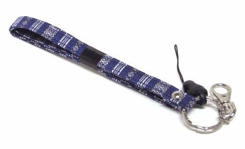 福岡県伝統工芸品 博多織小物献上柄 ネックストラップ 紫色系