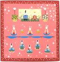 日本製 和風布物(綿チーフ)小風呂敷  和柄はんかち(ハンカチ)レイアウト お雛様 おひな様ウサギ