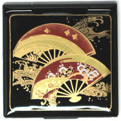海外向けおみやげ 日本のお土産加賀の伝統 石川伝統工芸品加賀 山中漆器 コンパクトミラー扇面