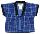 日本製 日本のよそおい 福岡県久留米織 手作り 子供用半纏(半天)久留米はんてん ポンチョ男の子 1~2才(サイズ90)紺白青色 細縞柄