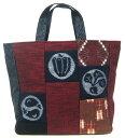 日本製 福岡県伝統工芸品久留米絣バッグ 和柄 手織 絣付き多目的 四角手提バック ト−トバッグ 赤色