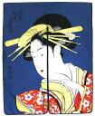 日本和風インテリア レイアウト 海外向けおみやげ浮世絵 風俗画 暖簾紺色 喜多川歌麿のれん