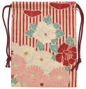 ショッピングボトル 【日本製】 和風布物 伝統的日本柄 和柄巾着 赤色