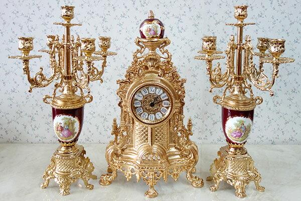 【送料無料!!】【即納可!!】新入荷しました♪イタリア製 真鍮 置時計 キャンドルスタンド ゴールドキャンドルホルダー 時計 セット 10灯