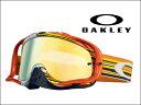オークリー MX ゴーグルクローバー MX OO7025-25予備レンズ付き!グリッチ オレンジ/イエロー