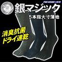 銀マジック抗菌消臭 5本指銀イオン靴下 大きめサイズ 薄地 ...