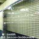 ショッピングのれん のれん式ビニールカーテンオーダーカットカーテン取り付けサイズ:幅1m以内×高さ3m1cm~3m50cm以内用 1セット【耐寒(冷蔵庫・冷凍庫用)/フラット/厚み2mm/幅200mm/ラップ50mm/スチールフレーム付き】