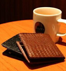 財布 メンズ 二つ折り 長財布 長サイフ 革 財布本革の素材感とクロコ型押しのグレード感人気のポイント