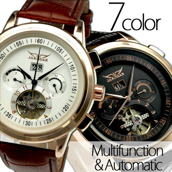 メンズ腕時計 送料無料 自動巻きバックスケルトン腕時計【カレンダー機能付き】 腕元に添えるだけで、セクシーな大人の色気をかもし出すワンランク上の自動巻きブランド