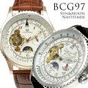 メンズ腕時計 【全針稼動の本格仕様】サン&ムーン自動巻き腕時計【保証書付】
