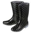 【通販価格】[ビッグアイランド] Big Island L41804 レディース | レインシューズ レインブーツ | ロングブーツ サイドベルト | 長靴 雨靴 雨対策 | 大きいサイズ対応 25.0cm | ブラック×ドット