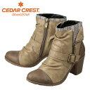 [セダークレスト] CEDAR CREST CC-2712 レディース   エンジニアブーツ ショーツブーツ   ダブルフェイス ショーツブーツ   サイドジップ 太ヒール   大きさサイズ対応 24.5cm 25.0cm 25.5cm   ベージュ