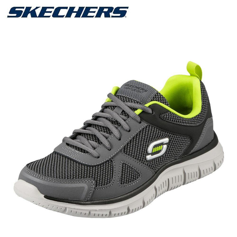 スケッチャーズ SKECHERS スニーカー 999724 メンズ 靴 シューズ 4E相当 カジュアル シューズ スニーカー 軽量 TRACK REPEATS 低反発 クッション性 幅広 4E相当 歩きやすい 大きいサイズ対応 28.0cm チャコール×ライム
