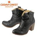 【スペシャルプライス】[セダークレスト オレンジスター] CEDAR CREST CC-2710 レディース | ウエスタンブーツ | ショートブーツ シャーリング | チェック柄 トレンド | 大きいサイズ対応 24.5cm | ブラック