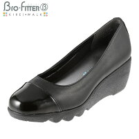 [バイオフィッターキレイウォーク]BioFitterBFL-8007レディース|ウェッジソールパンプス|ラウンドトゥローヒール|美脚軽量防臭|大きいサイズ24.5cm|ブラック