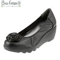 [バイオフィッターキレイウォーク]BioFitterBFL-8008レディース|ウェッジソールパンプス|ラウンドトゥローヒール|美脚軽量防臭|フラワーモチーフシャーリング|ブラック