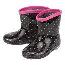 [リトルフォーク] LITTLE FOLK J41806 キッズ・ジュニア | キッズレインシューズ | 長靴 雨靴 子供用 | 通学 通園 女の子 | 水玉模様 ドット柄 | ブラックドット