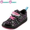 チャーミーキャンディ CHARMY CANDY CCG-34 キッズ ジュニア キッズシューズ 子供靴 コートスニーカー 花柄 フラワーモチーフ かわいい 女の子 ブラック