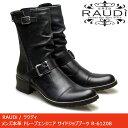 RAUDi ラウディ メンズ MENS 本革 カジュアル シューズ 革靴 革 靴 くつ レザー エンジニアブーツ タンクソール ブラック 黒 R-61208 【送料無料】【あす楽】【rtss】