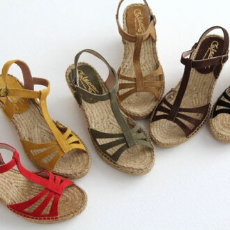 [a reservation product] Calzanor (カルザノール) espadrille sandals No. 812 (suede cloth /T strap wedge sole sandals) [smtb-KD]