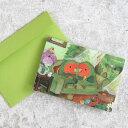 hummingpippi(ハミングピッピ) hummingpippi Card/ハミッピカード (封筒付き二つ折りメッセージカード) コザクラインコ/グリーン