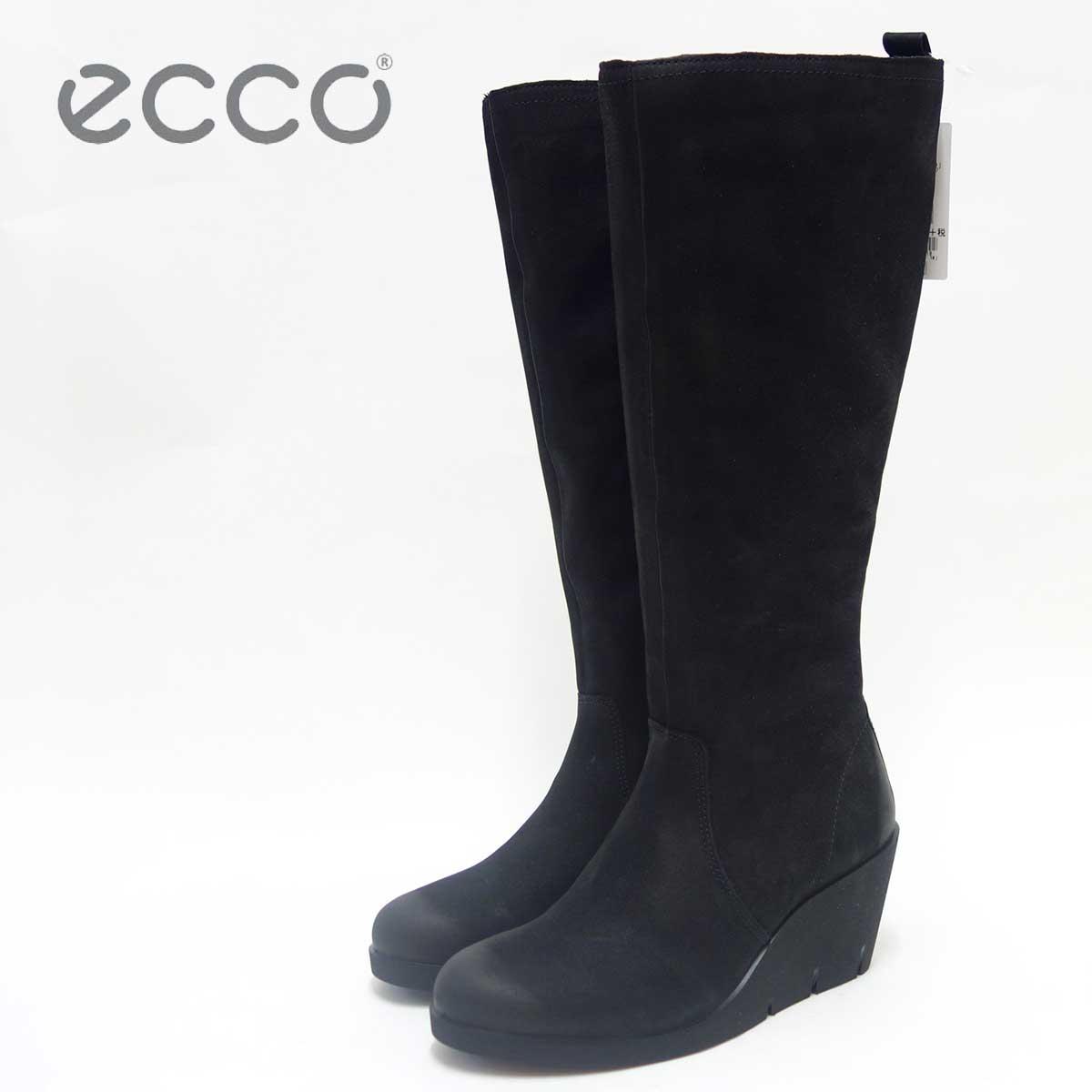 ECCO エコー 282513 ブラック(レディース)ヌバックレザー ウェッジヒール ロングブーツECCO BELLA WEDGE High cut zip「靴」 エコーの靴は足の快適さと健康を追求します ☆送料無料・手数料無料☆