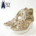 FLY LONDON フライロンドン YELI719FLY 500719 009 パール厚底 ウェッジ レースアップシューズ「靴」