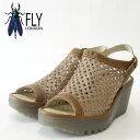 FLY LONDON フライロンドン YUTI734FLY 500734 007 キャメル厚底ウェッジサンダル「靴」