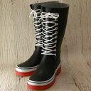ファッションセンスが光る逸品!雨の日やガーデニングに大活躍!E-2103 ブラック(レディース)可愛い編み上げデザインのレインブーツ(ゴム製)