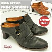 シンプル 美脚 ヒール ミュールクラシック仕様 ミュールサンダル美脚 太ヒール サンダルNo,4093 3カラー 前かぶりタイプRose Crown Black/Camel/D.Brown
