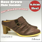 期間限定 送料無料!シンプル 美脚 ヒール ミュールクラシック仕様 ミュールサンダル美脚 太ヒール サンダルNo,4093-S 3カラー 前かぶりタイプRose Crown ウエスタン ミュールBlack/D.Brown/Camel P01Jul16