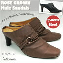 シンプル 美脚 ヒール ミュールリング ミュール サンダル美脚 スマート サンダルNo,7817 3カラー 前かぶりタイプRose Crown Black/D.Brown/Bronze 05P03De