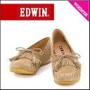 エドウィン モカシン レディース 本革 ローヒール 歩きやすい スエード タッセル付き EDWIN 12601 ベージュ【レディースバーゲン】