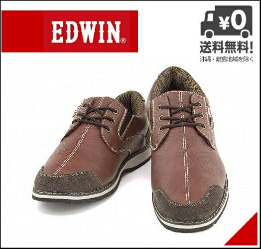 エドウィン オックスフォードシューズ メンズ レースアップ クッション性 防水 雨 雪 靴 カジュアル デイリー トラベル ウォーキング EDWIN EDM-431 ワイン