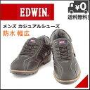 エドウィン メンズ カジュアル レザー シューズ レースアップ スエード 防水 雨 雪 靴 幅広 ウォーキング デイリー EDWIN EDW-435 ブラック